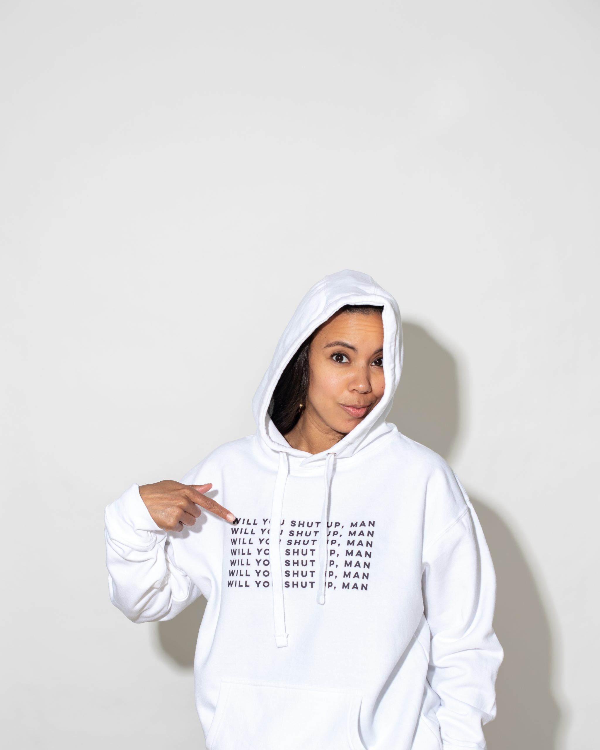 Dionna Dorsey in District of Clothing 'Will You Shut Up Man' hoodie